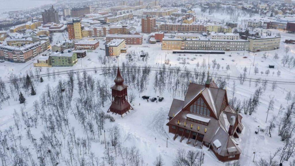 Vistas de la ciudad de Kiruna en Suecia